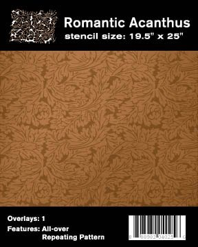Faux Like a Pro Acanthus Wallpaper Stencil, 19.5 by 25-Inch, Repeat: 13.8 by 19.6-Inch
