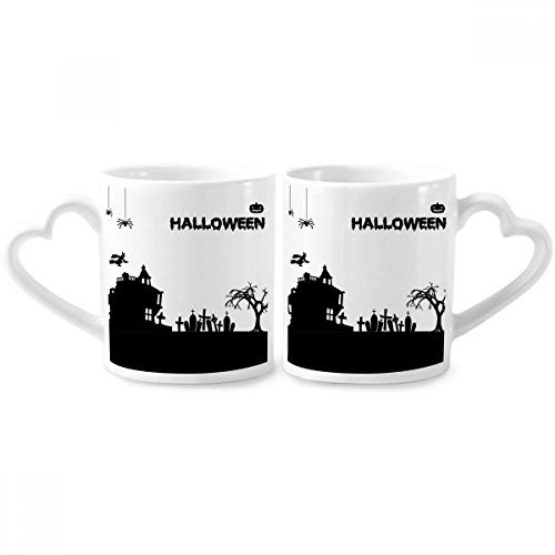 Trees Happy Ghost Fear Halloween Couple Mugs Ceramic Lover Cups Heart Handle 12oz Gift -