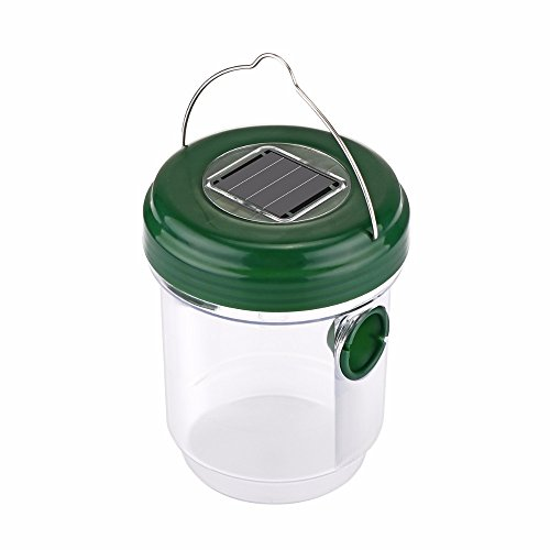 Elindio Wasp Trap Catcher, Life Outdoor Solar Powered Fly Trap with Ultraviolet LED Light Waterproof...
