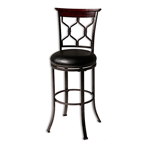 ahassee Swivel Seat Bar Stool with Heritage Silver Finished Metal Frame and Black Faux Leather Upholstery, 30-Inch Seat Height ()