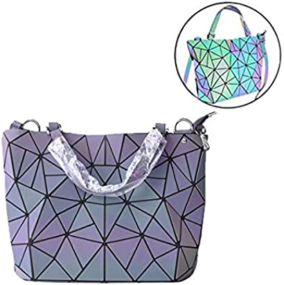Geometric Luminous Purse Leather Holographic Reflective Handbags Lattice Luminesk Laptop Bag for Women