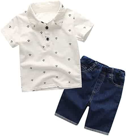 Shorts Milkiwai Little Baby Boys Outfit Polo Shirt Short Sleeves Top