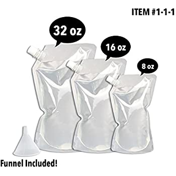 Concealable And Reusable Cruise Flask Kit - Sneak Alcohol Anywhere - 1 x 32 oz + 1 x 16 oz + 1 x 8 oz + 1 funnel