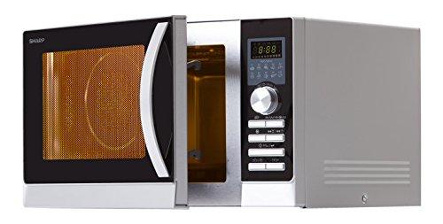 Sharp R843INW - Microondas, 3 en 1, 900 W, Plata, 51.3 x 30.62 x 39.94 cm