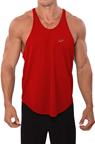 Mens Poly Stringer Tank Top by Pitbull in Your Choice of Color (Large, Red) (Tank Pitbull Top)