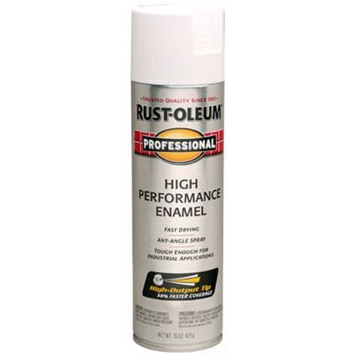 - Rust-Oleum 7590838 Professional High Performance Enamel Spray Paint, 15 oz, Flat White