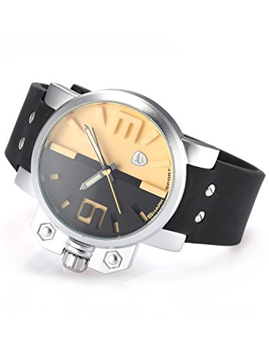 Shark SH170-US2 Men's Stainless Steel Case Black Yellow Dial Rubber Strap Sport Wrist Quartz Watch