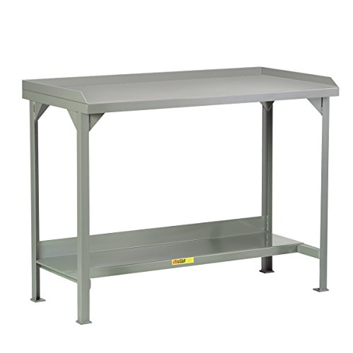"""Little Giant WSL2-3048-AH Welded Steel Workbench with Back and End Stops, 1 Half-Shelf, 5000 lb. Load Capacity, 27"""" to 41"""" Adjustable Height, 48"""" x 30"""", Gray"""