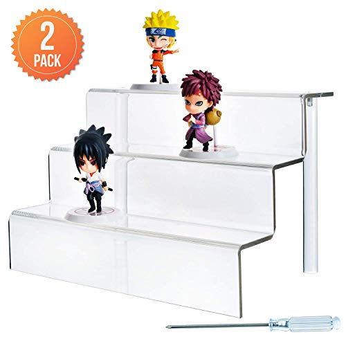 - Acrylic Risers (2-Pack) 3-Tier Shelf, 9 x 6.25 Inches (WxL)