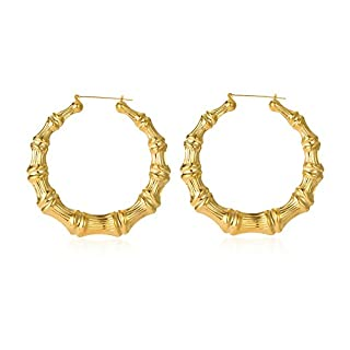 Gold Plated Bamboo Hoop Earring Hollow Casting Hip-Hop Statement Jewelry for Women Dia 85mm  sc 1 st  Do-it-yourself.store & Bamboo door knocker earrings | Do-it-yourself.Store