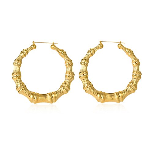 Gold Plated Bamboo Hoop Earring Hollow Casting Hip-Hop Statement Jewelry for Women Dia 85mm (Bamboo Gold Plated Earrings)