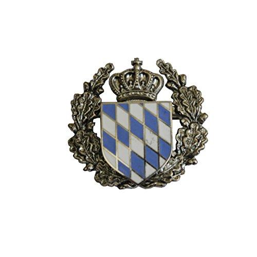 Breiter - Hutanstecker, Hutabzeichen, Hutschmuck, Anstecker: Bayern Wappen weiß-blaue Raute mit Ehrenkranz
