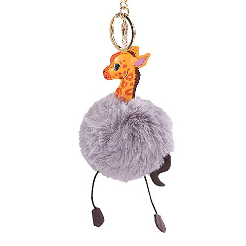 (SUPPION Faux Rabbit Fur Ball PomPom Cartoon Giraffe Car Pendant Handbag Key Ring Chain (Gray))