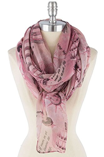 Je Me Costume (TRENDY FASHION JEWELRY SOFT TAKE ME TO EUROPE PRINT SCARF BY FASHION DESTINATION | (Pink))
