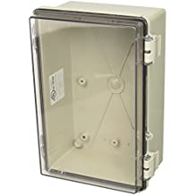 "BUD Industries NBF-32216 Plastic Indoor NEMA Economy Box with Clear Door, 11-51/64"" Length x 7-55/64"" Width x 5-7/64"" Height, Light Gray Finish"