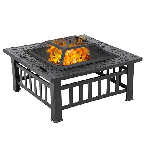 Fire Pits Yaheetech 32in Outdoor Fire Pit Metal Square Firepit Wood Burning Backyard Patio Garden Beaches Camping Picnic Bonfire… firepits