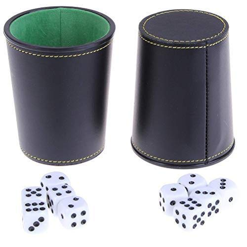 Simday 2 Pcs PU Traditional Professional Leather Dice Cups with 10 Six-Sided Poker Dices Felt Lining Dice Cup Shaker for Dice Game Party Bar KTV Supplies