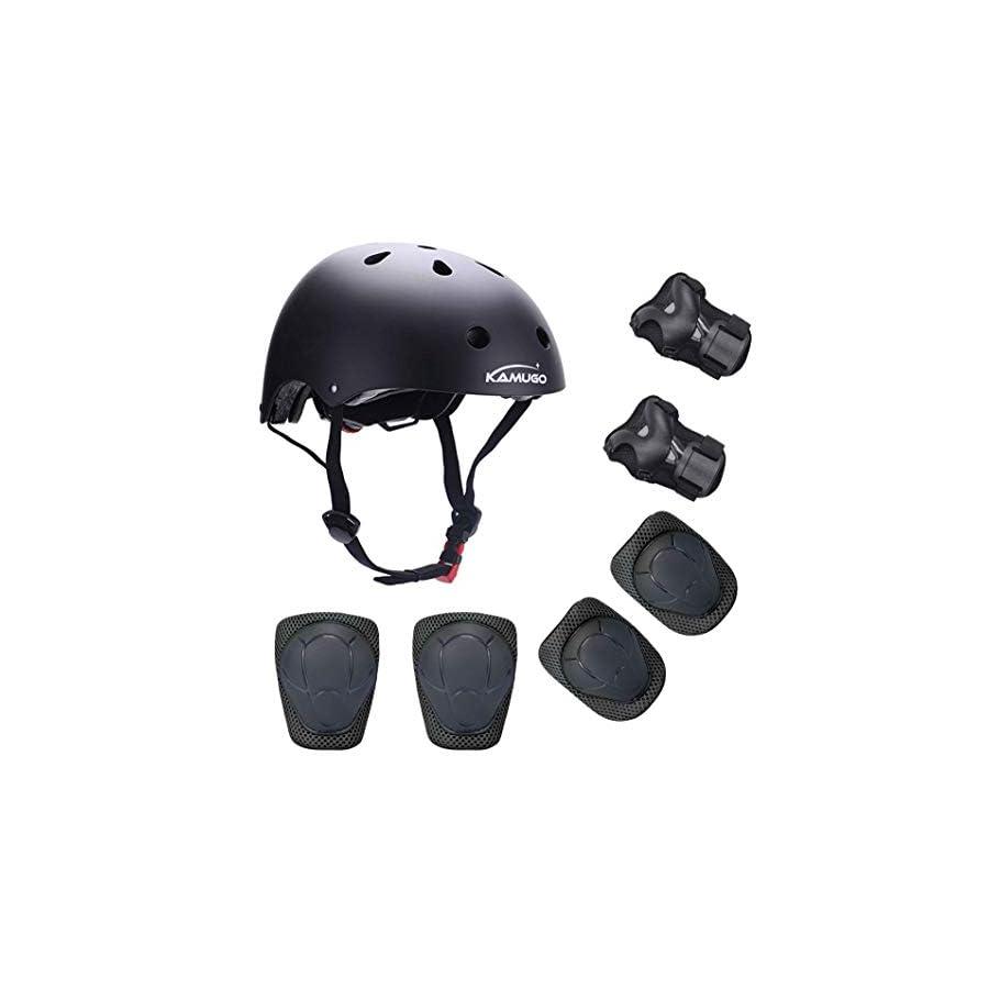 KAMUGO Kids Helmet Knee Pads for Kids 3 8 Years Toddler Helmet, Kids Bike Skateboard Helmet Youth Hoverboard Cycling Scooter Rollerblading Protective Gear Adjustable Helmets for Kids