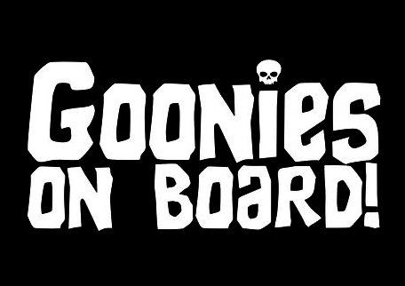 CCI Goonies On Board With Skull Funny Decal Vinyl Sticker|Cars Trucks Vans Walls Laptop|White |7.5 x 3.75 in|CCI1810 ()