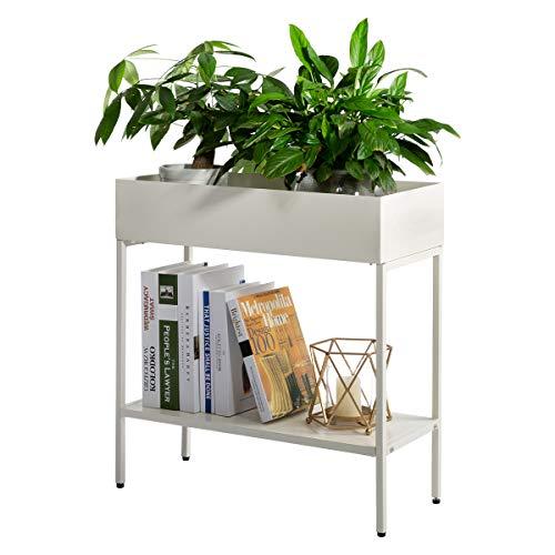 AGTEK 2-Tier Garden Planter Flower Box Stand, Iron Flower Pot Holder Rack, White Planter Garden Container Display