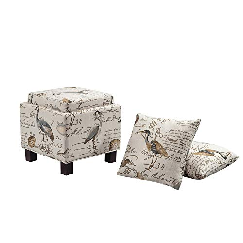 Bella Coastal Decor Gramercy Ottoman with Pillows - Shore Side