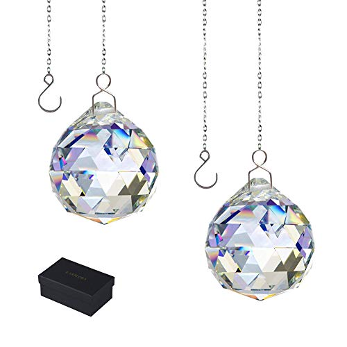 KARSLORA Clear Glass Crystal Ball Prism Rainbow Maker Feng Shui Crystals Hanging Prism Pendants Window Suncatchers 40mm Pack of 2