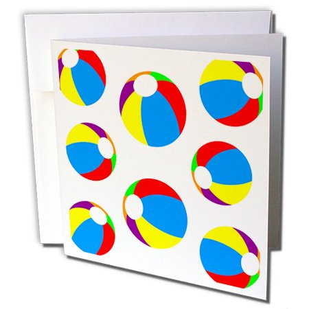 Florene Décor III - Image of Cute Beach Balls Pattern in Primary Colors - 6 Greeting Cards with envelopes (gc_243607_1)