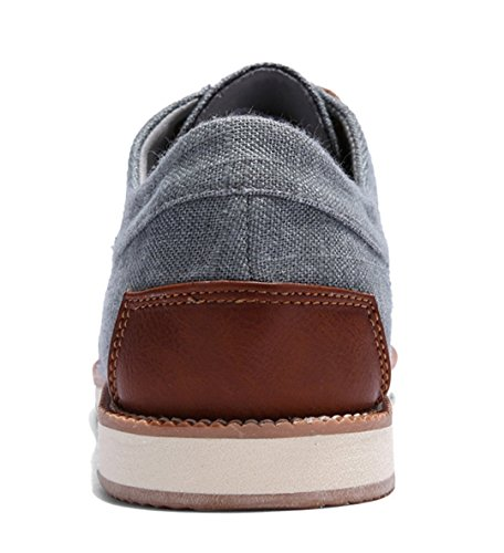 TDA Mens Casual Breathable Low Cuff Lace-up Linen Outdoor Sneaker Dark Grey NFycLQLY