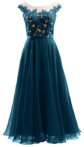 Midi Prom Dress Party Sleeves Dress Wedding MACloth Teal Lace Cap Illusion Chiffon qUpwtw
