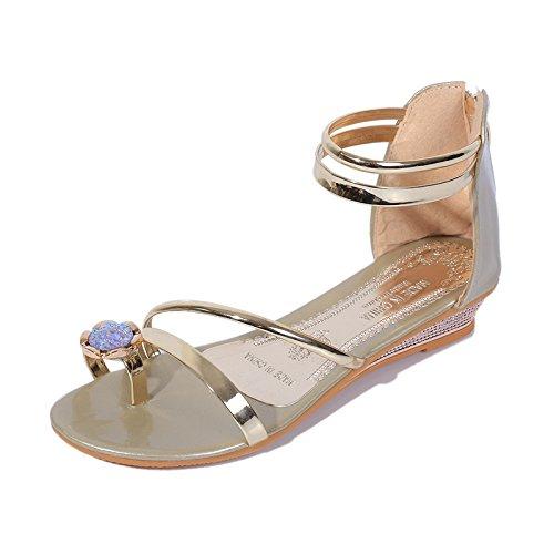 de de Puntera sandalias de plano tacón de taladro agua Golden 1PTT0wxS4