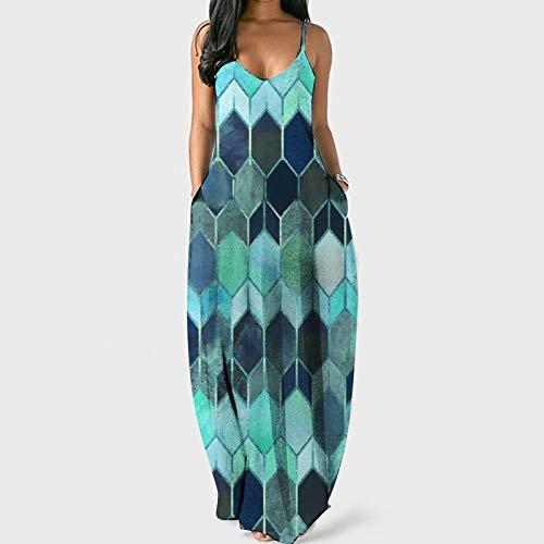 Hevoiok-Kleid Sommerkleide Damen Lange Diamant Drucken Strandkleid Camisole Unregelmäßiges ärmelloses Cocktailkleid U-Ausschnitt Strandkleid Maxikleid(Blau,S)