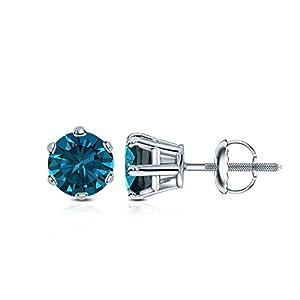 14k White Gold Round Blue Diamond 6-Prong Basket Stud Earrings (1 ct, Blue, I1-I2)