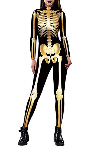 Idgreatim Women Gold Bone Graphic Halloween Cosplay Costumes Skinny Catsuit Jumpsuit Bodysuit for Dead parades Black M ()