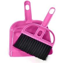 YJYdada Mini Desktop Sweep Cleaning Brush Small Broom Dustpan Set (Hot pink)