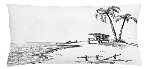 Sketchy Throw Pillow Cushion Cover by Lunarable, Sketch Figure of Summer Beach with Palm Trees and Lifeguard Stand Seascape Concept, Decorative Square Accent Pillow Case, 36 X 16 Inches, Black - City Lifeguard Party