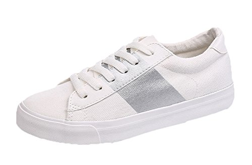 [Passionow Women's Stylish Lace-up Round Toe Durable Canvas Rubber Flat Fashion Sneakers (7.5 B(M)US,White Silver)] (Traditional Greek Dance Costumes For Sale)