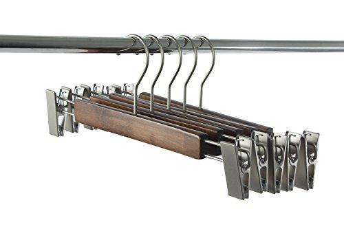 Zeal Hanger Maple Skirt Hangers, Wood Trousers Hanger, Wooden Pants Hangers with Clamp, 10-Pack, Pearl Nickel Polished Hook by Zeal Hanger