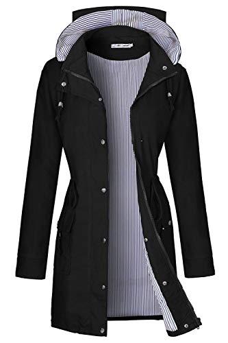 BBX Lephsnt Women's Lightweight Vinyl Hooded Raincoat - Vinyl Long Jacket Sleeve