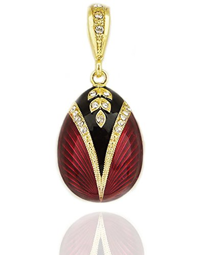 - Religious Gifts Reversible Red Russian Faberge Style Egg Pendant Sterling Silver 925 Gold Tone