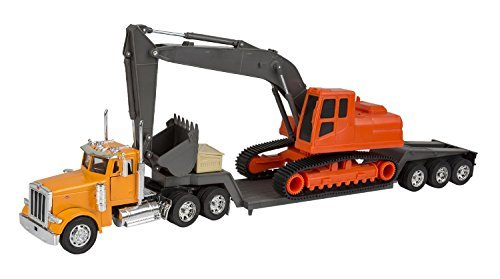 (New Ray Peterbilt Model 379 Truck With Backhoe - New Ray NR11283A)