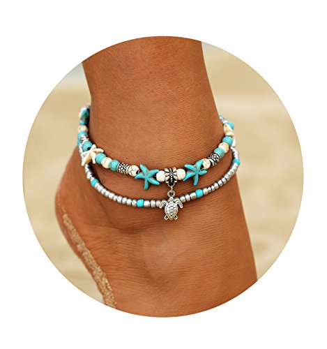 FineMe Starfish Turtle Anklets Multiple Layered Boho Gold Chain Anklet Heart Beach Rhinestones Turquoise Stone Charm Anklet (A1: Turtle) - Turquoise Ankle Bracelet Anklet