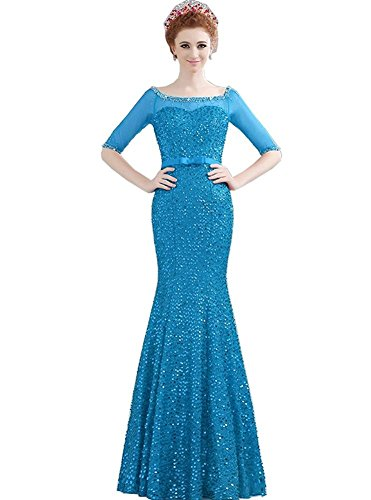 Boot Transparent Emily halbe Abendkleider Blau Hülsen Ausschnitt Beauty Schulterfrei Lange YtRqOq