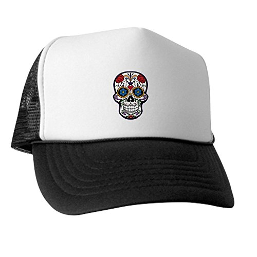 Truly Teague Trucker Hat (Baseball Cap) Floral Sugar Skull Day of the Dead - Black and White