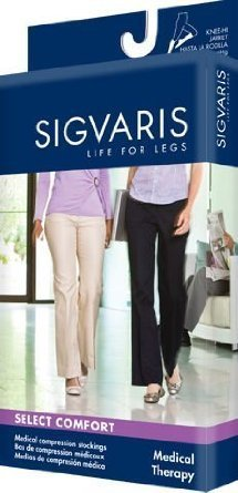 860 Select Comfort Series 30-40 mmHg Women's Closed Toe Thigh High Sock Size: SL, Color: Suntan 36 by Sigvaris by SIGVARIS