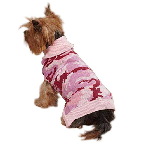 Casual Canine Acrylic Camo Dog Sweater, Large, Pink For Sale