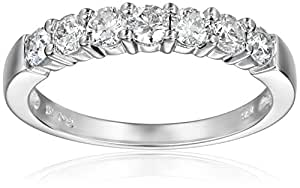 14k White Gold 7-Stone Diamond Ring (3/4 cttw, H-I Color, I1-I2 Clarity), Size 6