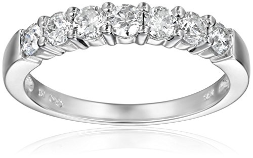 14k White Gold 7-Stone Diamond Ring (3/4 cttw, H-I Color, I1-I2 Clarity), Size 6 by Amazon Collection