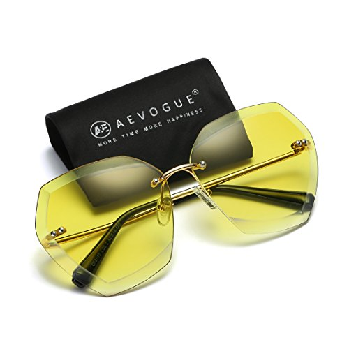AEVOGUE Sunglasses For Women Oversized Rimless Diamond Cutting Lens Sun Glasses AE0534 (Gold&Yellow, - Sunglasses Sixties