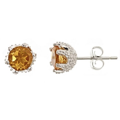 925 Sterling Silver Brilliant Round Cut Citrine Stud Earrings (Brilliant Cut Citrine Earrings)