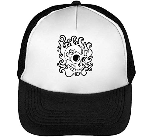 Blanco Beisbol Negro Tattoo Hombre Gorras Skull Snapback YwFx7qvII